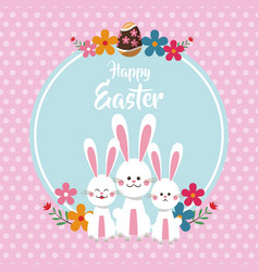 Happy easter cute bunnies floral dots background vector