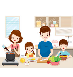 happy family cooking food in the kitchen together vector image