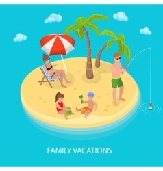 Isometric tropical island beach family relaxing vector