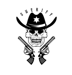 label of sheriff skull in hat and guns vector image vector image