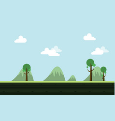 Landscape hill cartoon style game background vector