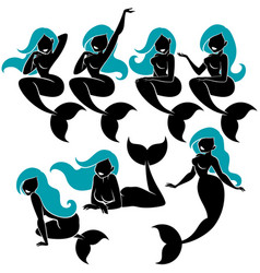 Mermaid silhouette set vector
