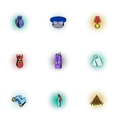 Military weapons icons set pop-art style vector