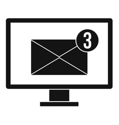 Monitor screen with email sign icon simple style vector