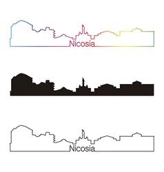 Nicosia skyline linear style with rainbow vector image vector image