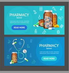 Pharmacy banner horizontal set vector