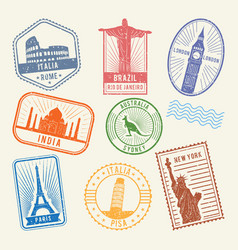 Postal stamps with famous world architecture vector