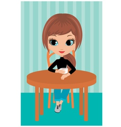 pretty girl drinks coffee vector image