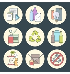 Recycle waste segregation icons vector