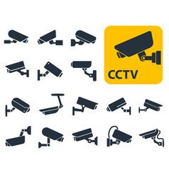 Security camera icons video surveillance vector