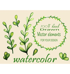 Set of watercolor branches vector