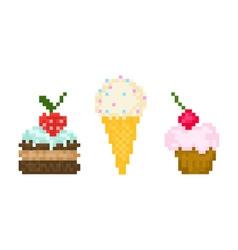 set pixel sweets vector image