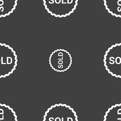 Sold icon sign seamless pattern on a gray vector