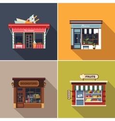 Stores and shop facades cute vector