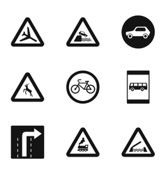 Street sign icons set simple style vector