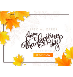 Thanksgiving sale banner with hand vector