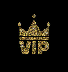 Vip club logo with gold glitter vector