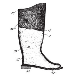 Waterproof boot vintage engraving vector