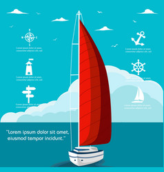 yacht club flyer design with sail boat vector image