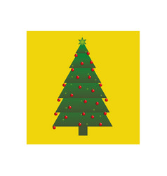 Yellow square frame with christmas tree design vector
