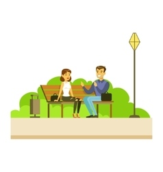 Friends chatting sitting on the bench part of vector