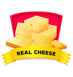 Label design with real cheese vector