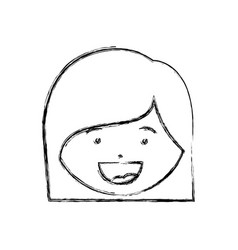 Monochrome hand drawing contour of smiling girl vector
