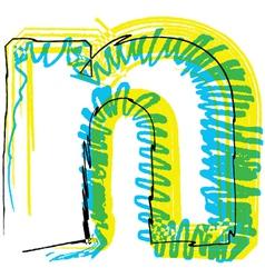 Sketch font letter n vector