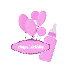 pink bottle with slots and label on white vector image