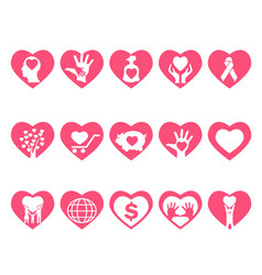 Charity icons set in heart vector