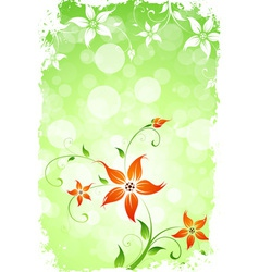 Grungy Green Flower Background vector image