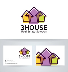 3 house logo with business card template vector