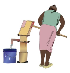 Woman at the well water vector