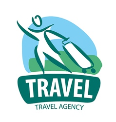 Logo tourist traveling with a suitcase vector