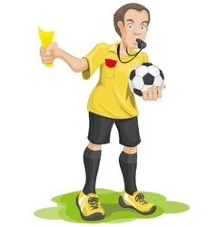 Soccer referee whistles and shows yellow card vector