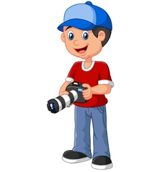 Boy holding a camera vector