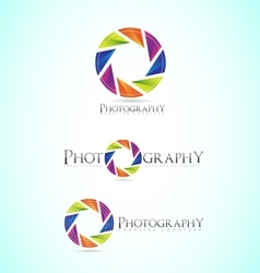 Photography shutter apperture camera logo vector