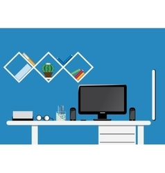 Office desktop workspace flat mock up vector