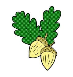 Comic cartoon acorns vector