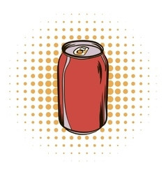 Red aluminum can comics icon vector