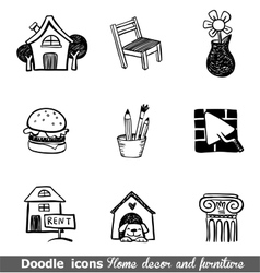 Home decor doodle icon set vector