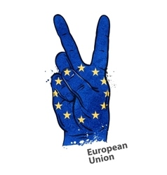 hand gesture of victory flag European Union vector image
