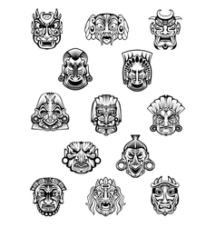 African ritual ceremonial masks in outline style vector image