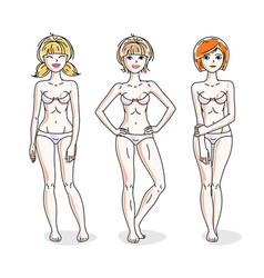 attractive young women group standing in white vector image vector image