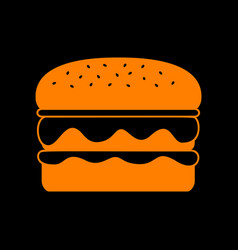 Burger simple sign orange icon on black vector