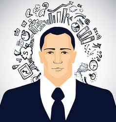 Businessman with business doodles vector