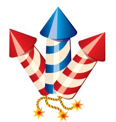 Cartoon fireworks rockets vector image
