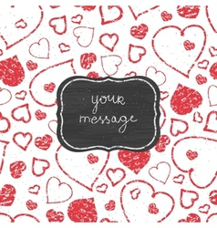 Chalkboard red art hearts frame seamless pattern vector