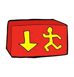 Comic cartoon exit sign vector