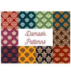 Damask floral pattern set flowery ornament vector